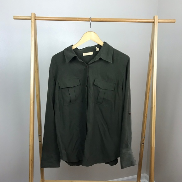 Kate Hill Tops - Kate Hill • Silk Green Button Down Top Size 2X